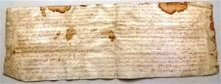 1370 Spanish Medieval Legal Manuscript Vellum