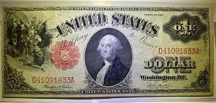1917 $1 Legal Tender U.S. Large Size Note   AU+