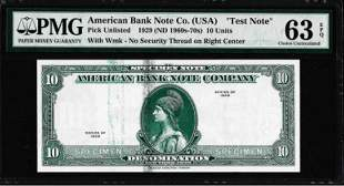 "1929 10 Unit American Bank Note Co. ""Test Note"" PMG"