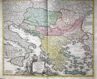 Danube River, Balkans, Greece 1762 by Homann Heirs