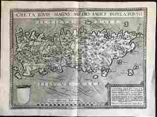 1596 RARE map of Crete with the maze of the minotaur