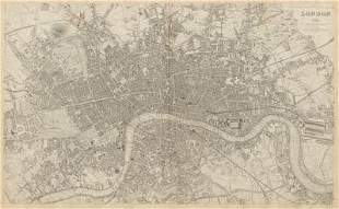 LONDON in 1843 antique town city map plan. LARGE 65x40