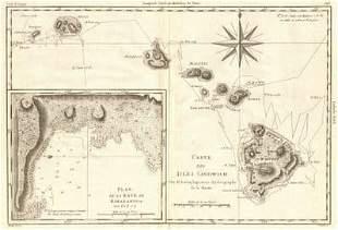 Carte des Isles Sandwich. Hawaiian Islands & Kealakekua