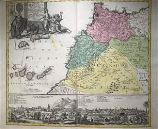 Morocco, Canary Islands and N.W. Africa. 1762 by Homann