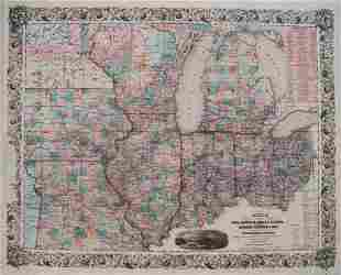 1853 Colton Map of the US Midwest -- Guide through