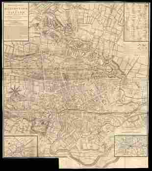 MANCHESTER & SALFORD town plan by LAURENT. Large