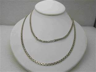 """Vintage Sterling Silver Woven Chain Necklace 36"""","""