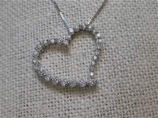 "10kt Diamond Heart Pendant, 20"" Necklace, 14kt chain,"