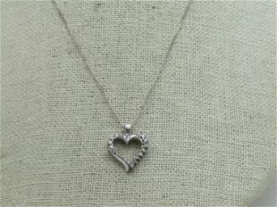 """Vintage 10kt Diamond Heart Necklace, 18"""""""
