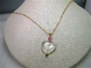 """Gold Tone Glass Heart Pendant on 26"""" Oval Link Chain,"""