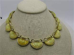 """Vintage Coro Yellow Confetti Necklace, 16"""", Gold Tone,"""