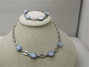 Vintage Sterling Blue Moonstone Necklace & Bracelet
