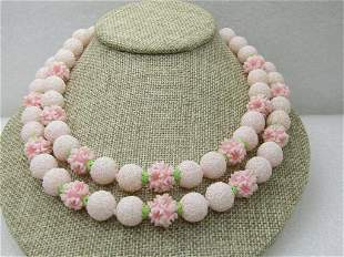 Vintage Japan Pink Floral Beaded Necklace, Mid-Century,