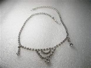 "Vintage Art Deco Rhinestone Bib Choker, Necklace -14"","