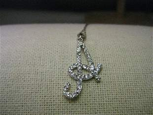 """Vintage Sterling Silver Necklace and Initial """"A"""" with"""