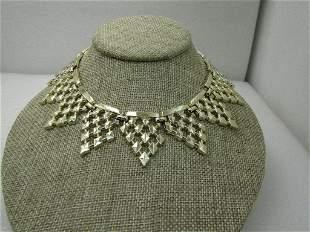 "Vintage Pointed Wreath Necklace, Diamond Pattern, 16"","
