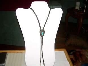 Vintage Southwestern Bolo Tie-Arrowhead W/Turquoise