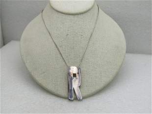 """Sterling Silver Initial R Necklace with CZ, 18"""" Snake"""
