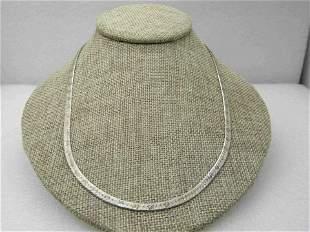 Vintage Sterling Siver Herringbone 3.5 mm Necklace,
