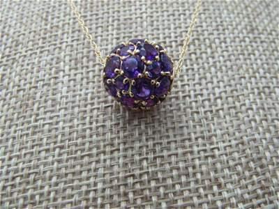 """Vintage 14kt Amethyst Pave Set Orb Necklace, 18"""","""