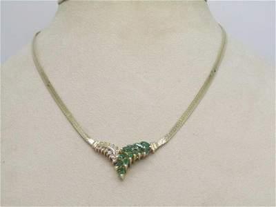"14kt Emerald & Diamond V Necklace, Herringbone, 15"","