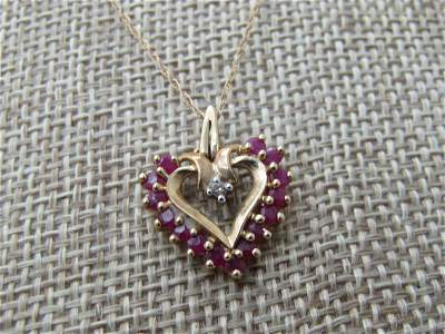 "Vintage 10kt Ruby & Diamond Heart Necklace, 20"" Signed"