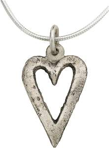 VIKING HEART PENDANT NECKLACE C. 1000 AD