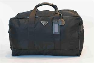Prada tessuton large black boston bag