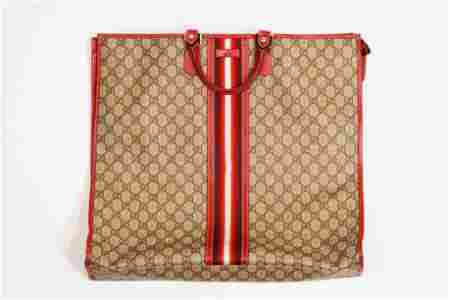 Gucci PVC large red stripe tote