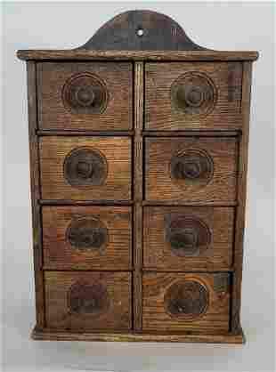 Oak wall spice cabinet ca 1880-1910
