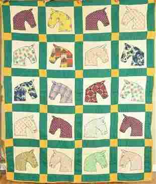 Folky Vintage Horse Applique Quilt