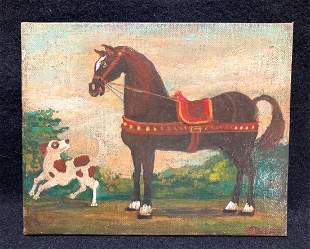 Original oil on canvas board folk art painting