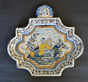 Dutch Delft Polychrome Plaque circa 1740