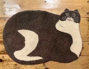 20thc cat folk art hooked wool rug