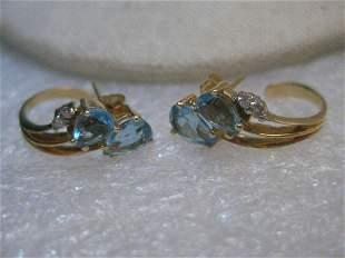 14kt Gold Blue Topaz Earrings, with Diamonds, Modern