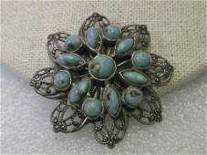 Vintage Art Deco Silver tone Brooch - filigree blossom
