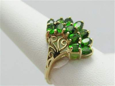 10kt Green Tourmaline Cluster Ring, art deco themed,