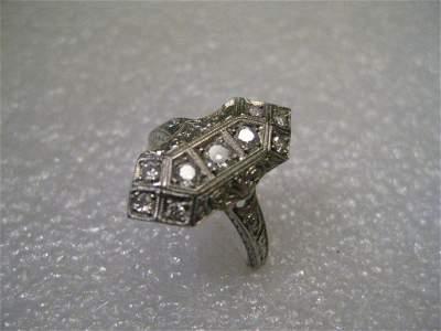 "Vintage Jewelry: Art Deco 7/8"" long 9 diamond Ring."