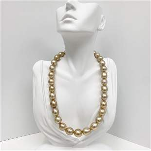 12-14mm Golden South Sea Drop/Oval Pearl Necklace with
