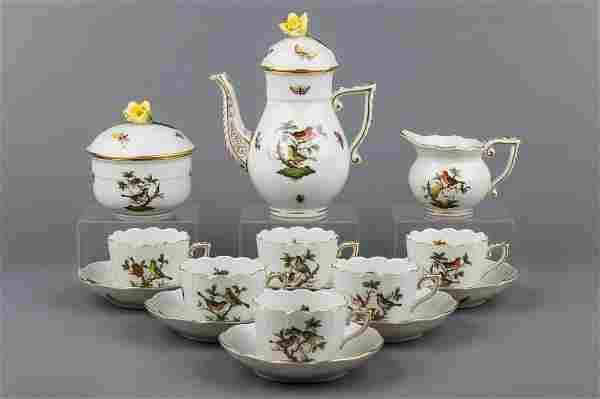 Herend Rothschild Bird Coffee Mocha Set for Six People,