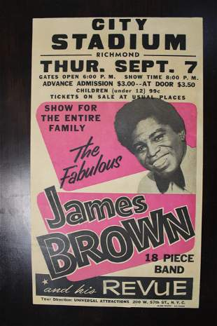 """James Brown - City Stadium, Richmond VA. (1967) 14"""" x"""