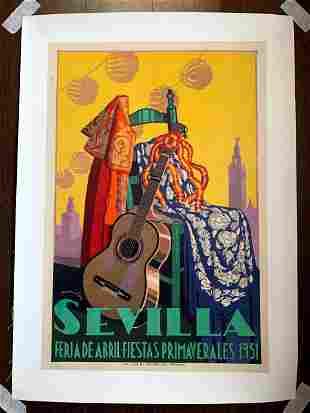 """Visit Sevilla - Feria de Abril (1951) 12.5"""" x 19.5"""""""
