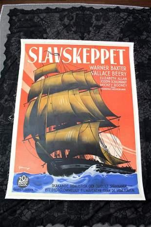 "Slave Ship - Slavskeppet (1937) 36.75"" x 49.75"" Swedish"