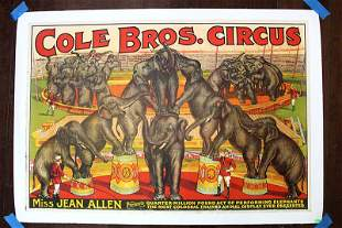 Cole Bros. Circus - Miss Jean Allen and Elephants -