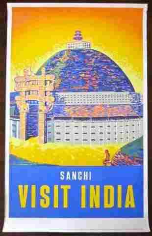 Sanchi Visit India (1950's) Indian Travel Poster