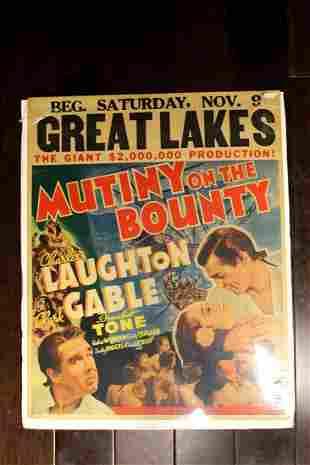 Mutiny on the Bounty (USA, 1935) Jumbo Window Card