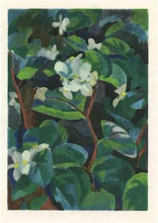 "Robert Delaunay ""Petits begonias blancs"" pochoir"