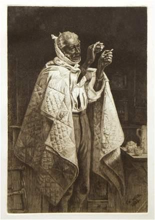 "Thomas Waterman Wood ""His Own Doctor"" original etching"