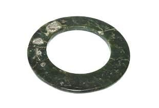 Prehistoric Thai Dk Green Nephrite Jade Salvaged Bangle