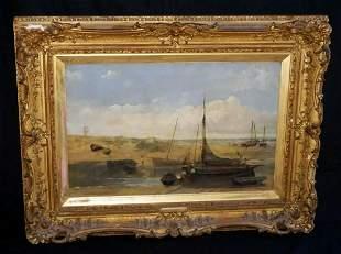 1883 English Oil Paint Seaside Boats John Wright Oakes